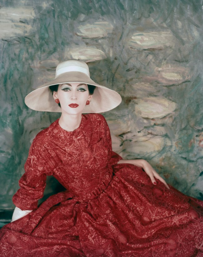 a-model-wearing-a-dress-and-wide-brimmed-hat-by-dior-1956