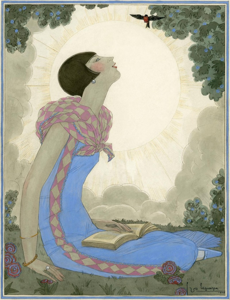 an-illustration-of-a-woman-in-a-blue-dress-during-springtime-by-georges-lepape-ca-1926