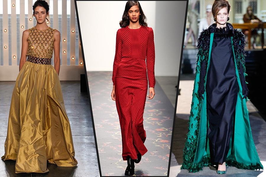 Длинные платья с модными воротниками