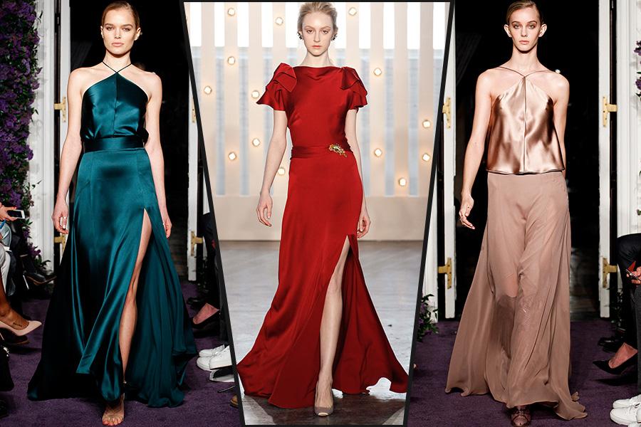 Фото длинных шелковых платьев